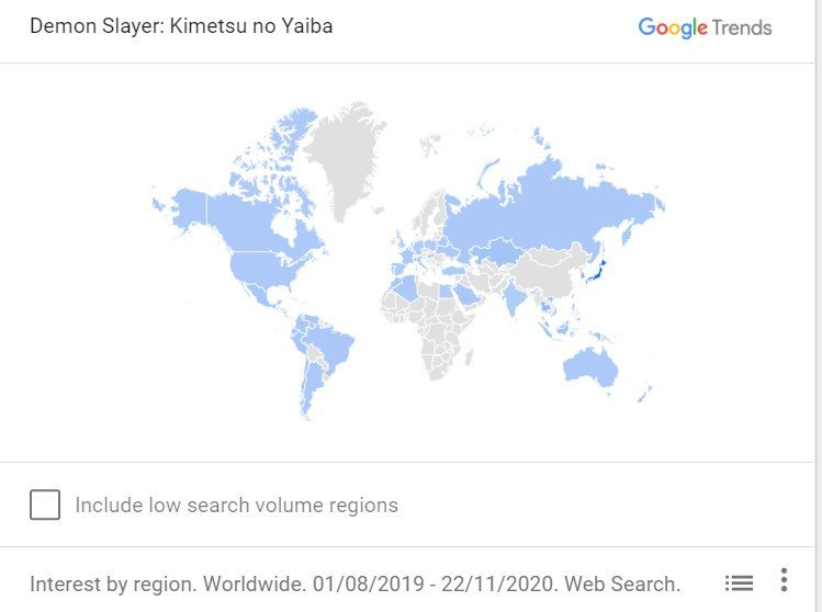 demon slayer google tendencias países populares