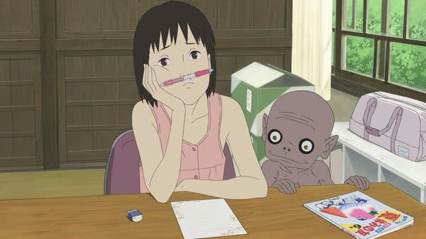 una carta a la película de anime momo youkai