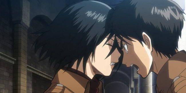 mikasa y eren ataque a titán