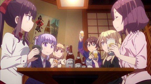 Nuevos personajes del juego de anime sentados en la mesa